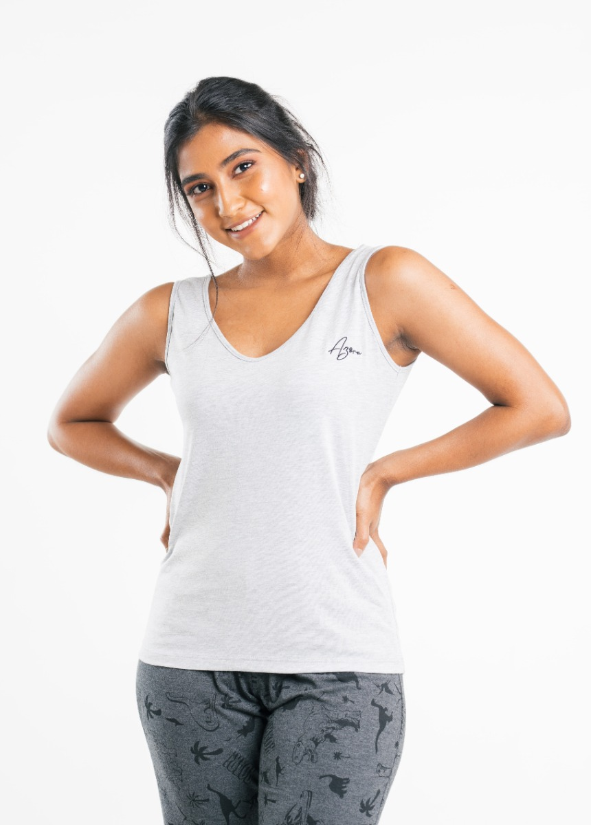 Women's Light Gray  Solid Tank Top