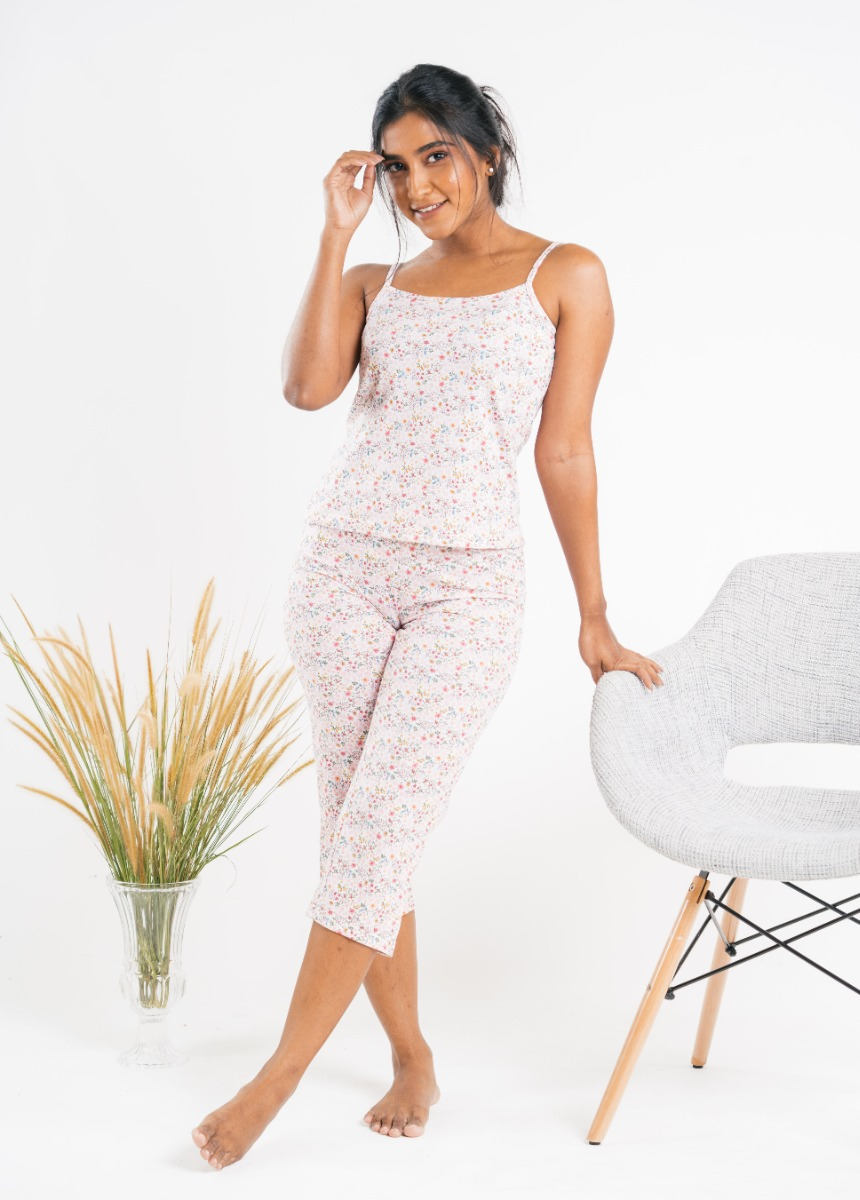 Women's Rose and White  Printed Night suit
