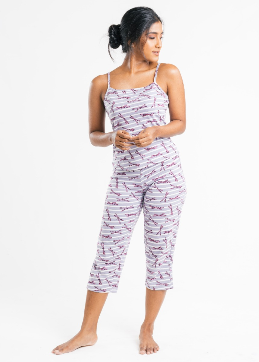 Women's Orchid Purple and White  Printed Night suit