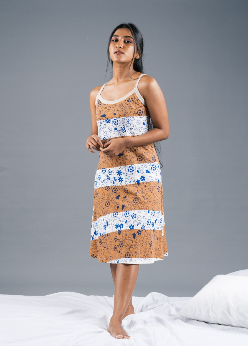 Women's Off White and Brown Striped Printed Nightdress
