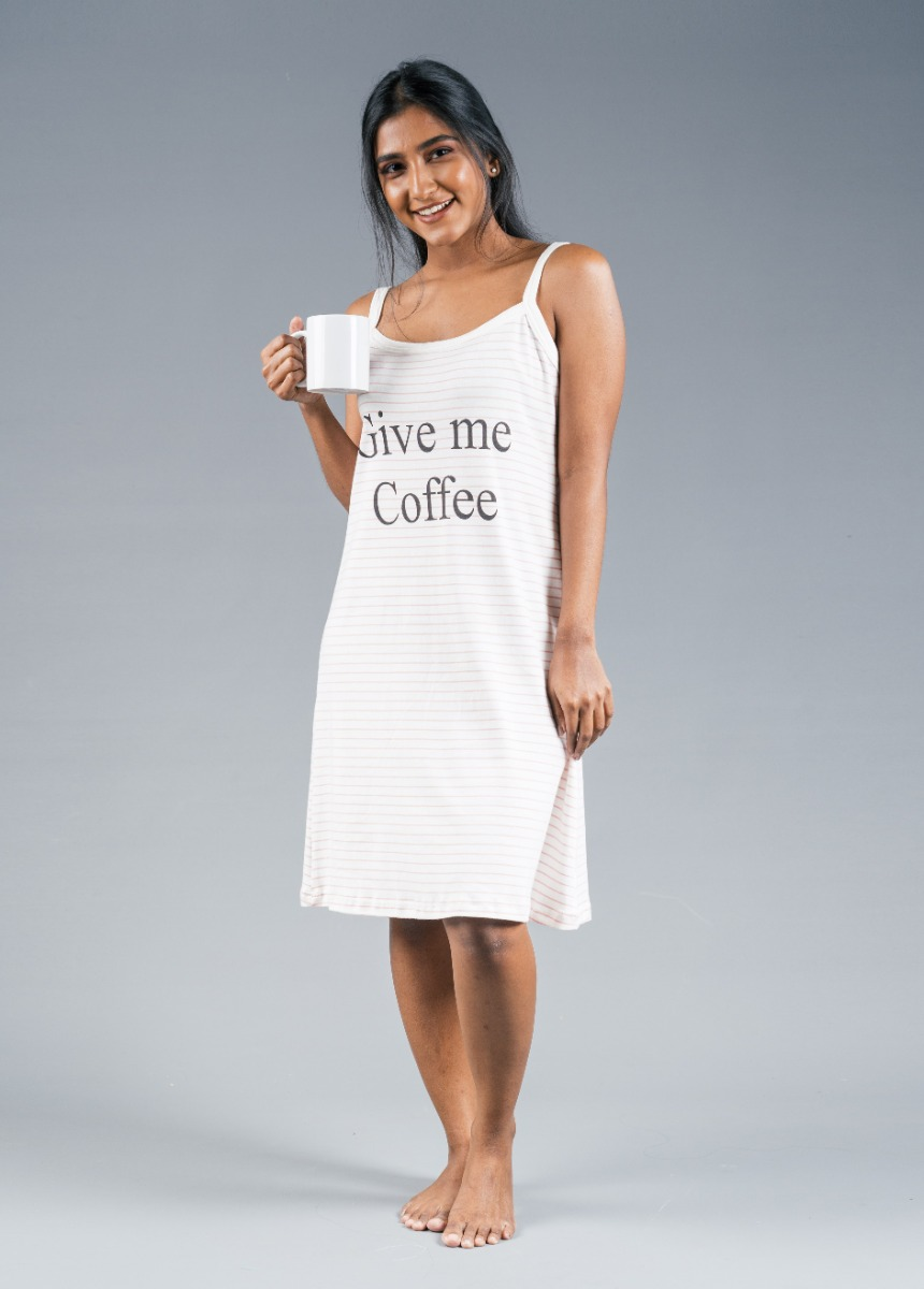 Women's Off White  Printed Nightdress
