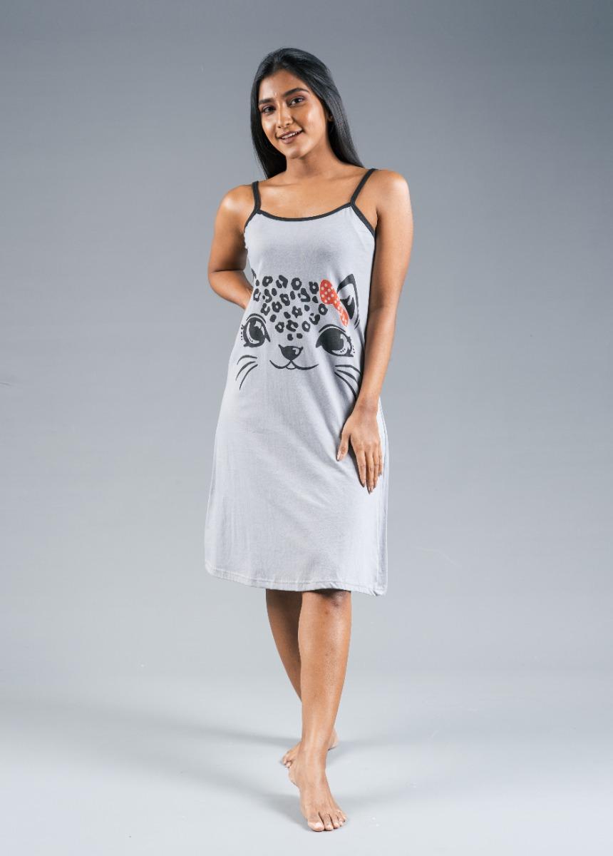Women's Gray Printed Nightdress