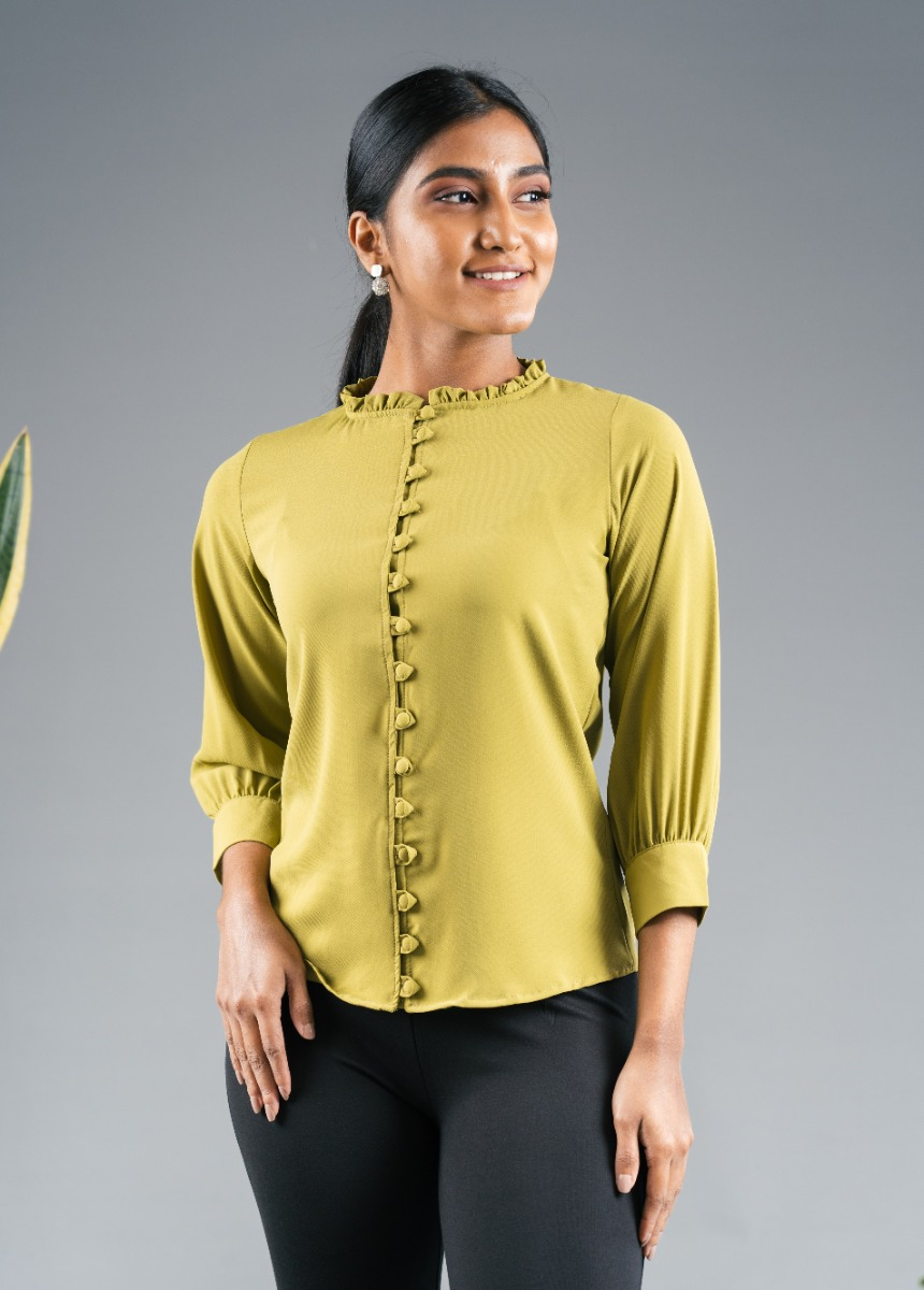 Women's Olive Green Shirt Style Top
