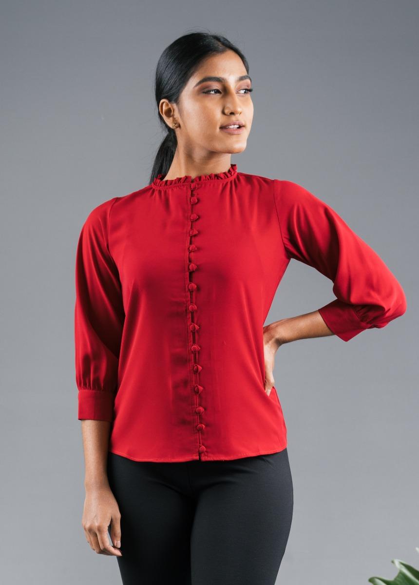 Women's Maroon Shirt Style Top