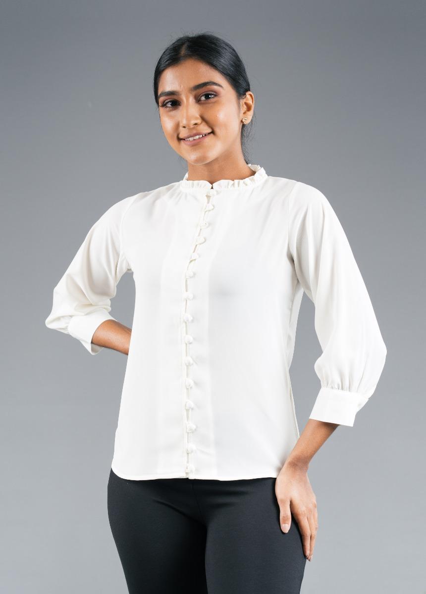 Women's Cream Shirt Style Top