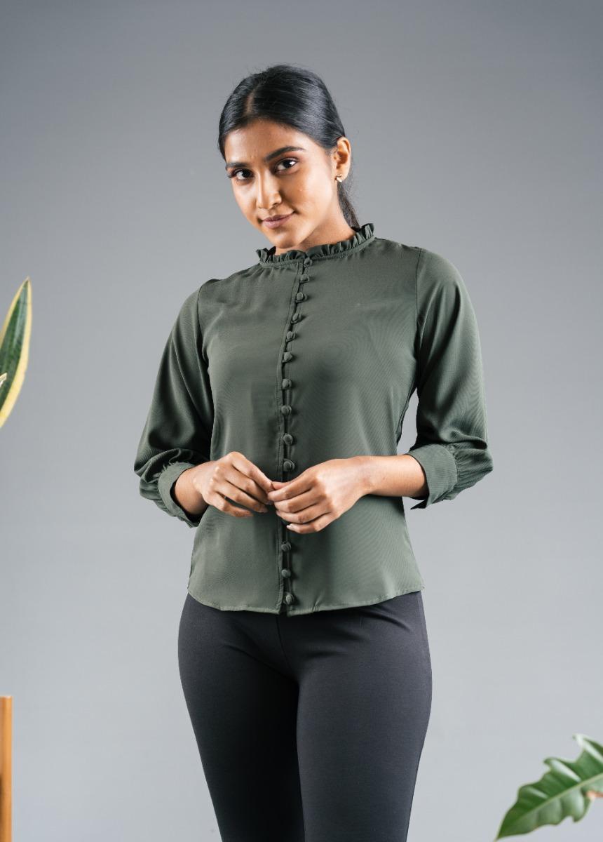 Women's Dark Olive Green Shirt Style Top