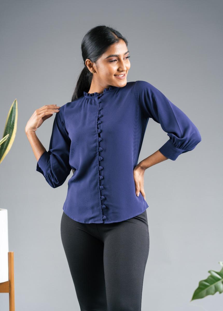 Women's Navy Blue Shirt Style Top