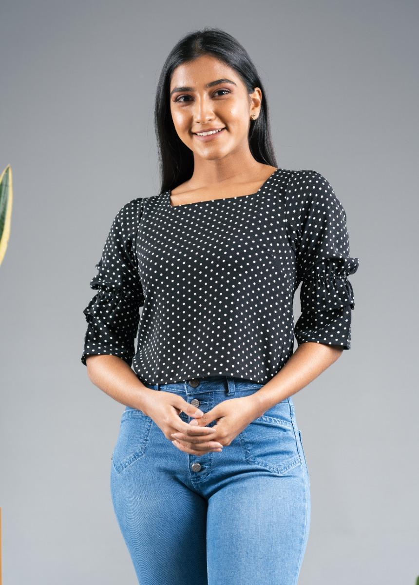 Women Black Colour Polka Dot Print Top