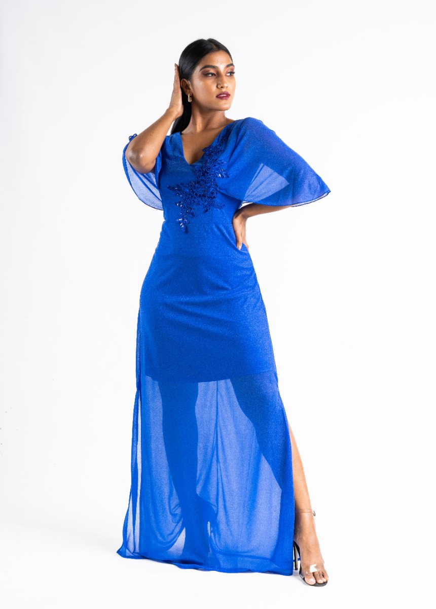 Women's Shine Blue Sequined Embroidered Party Maxi Dress