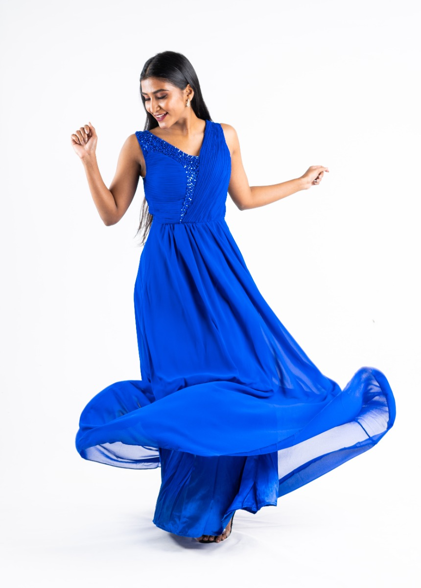 Women's Blue Accordion Pleat Party Maxi Dress With Sequin Detail