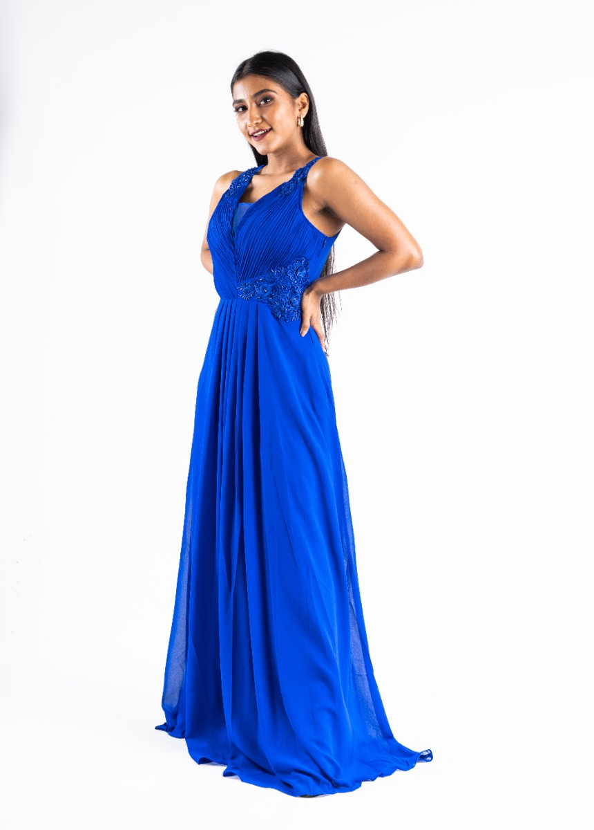 Women's Blue  Sequined Embroidered Party Maxi Dress