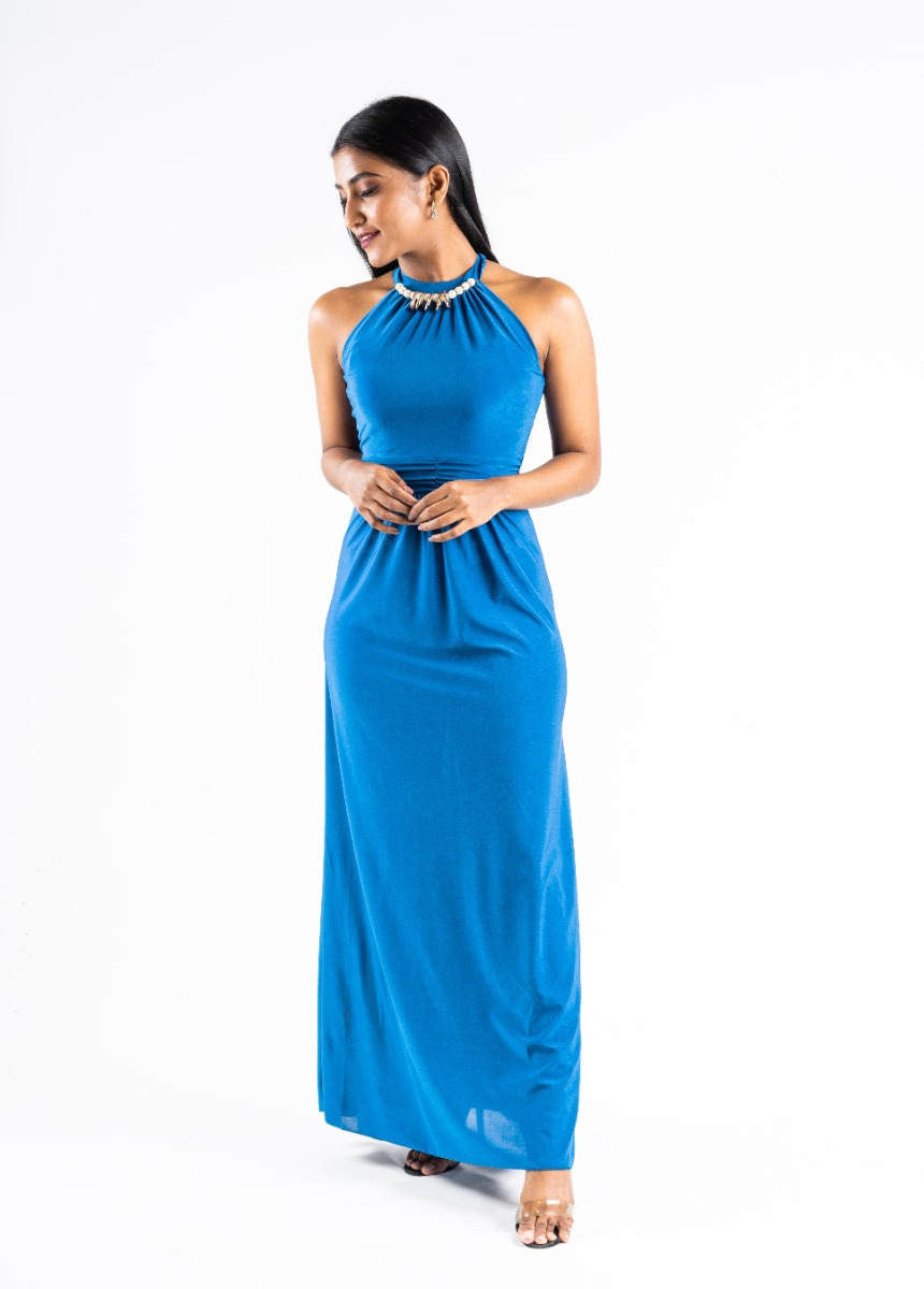 Women's Shine Prussian Blue Accordion Pleat Party Maxi Dress With Pearls Detail