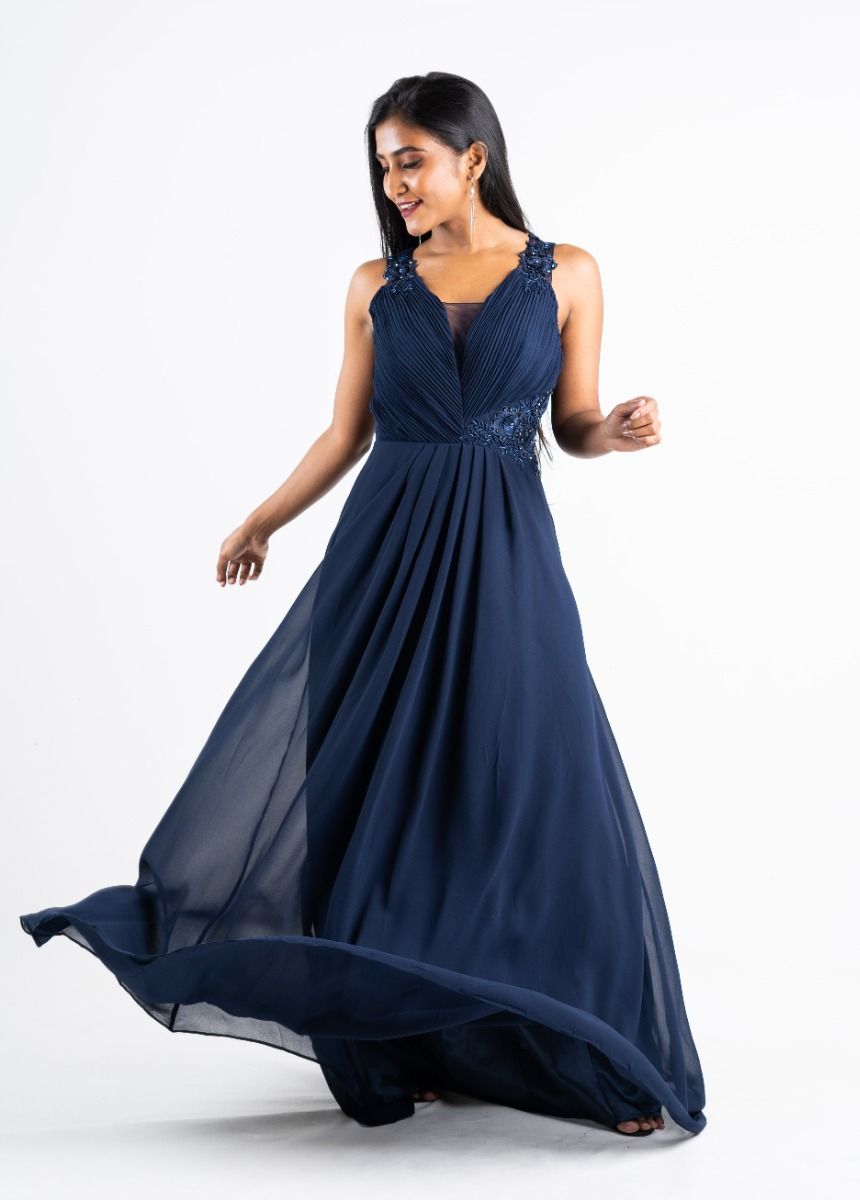 Women's Dark Blue Sequined Embroidered Party Maxi Dress