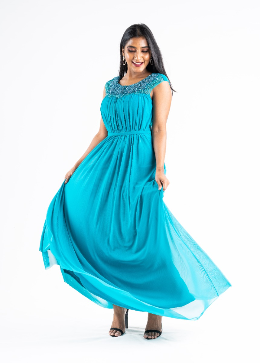 Women's Pine Green  Accordion Pleat Party Maxi Dress With Pearls Detail