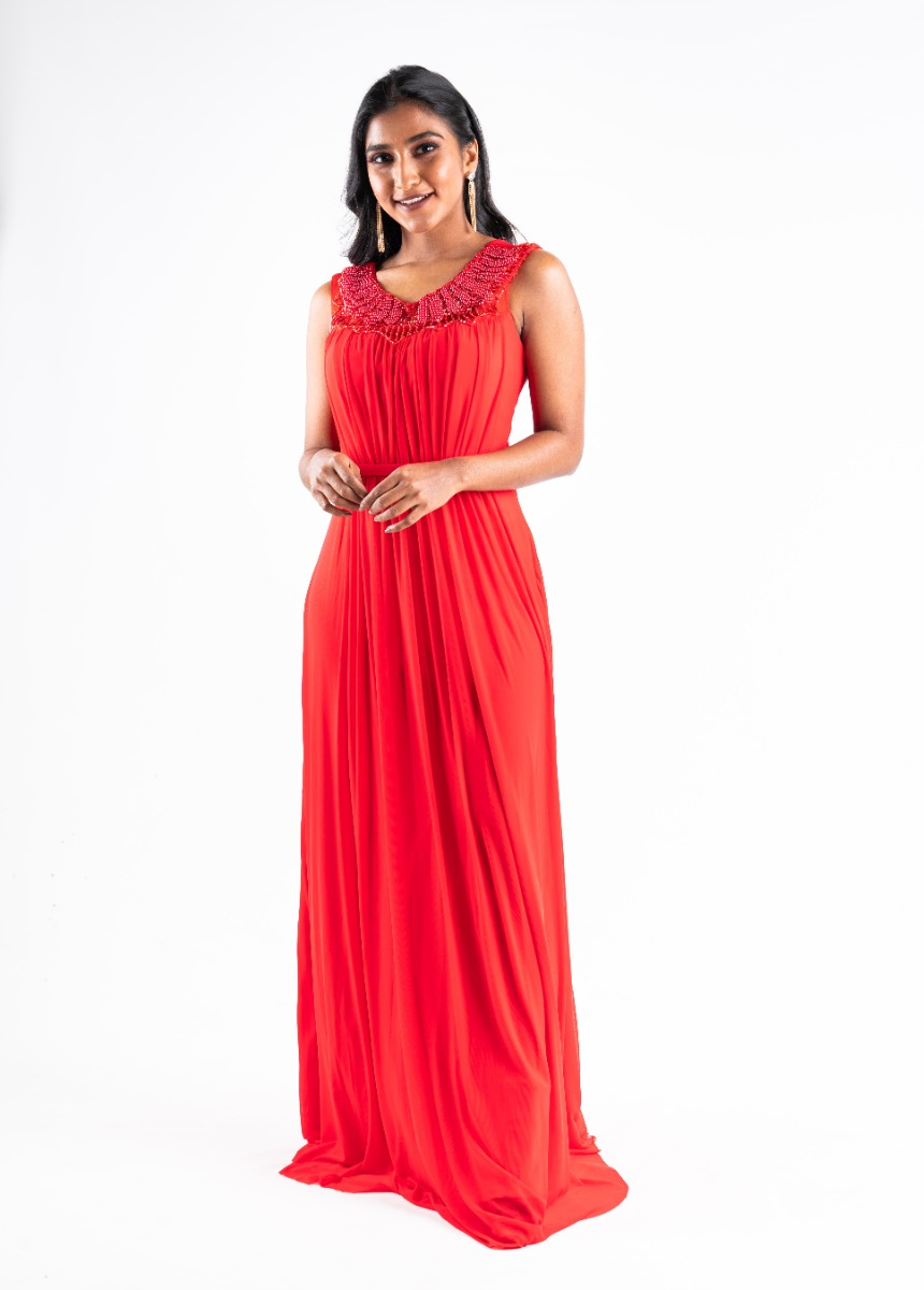 Women's Red    Accordion Pleat Party Maxi Dress With Pearls Detail