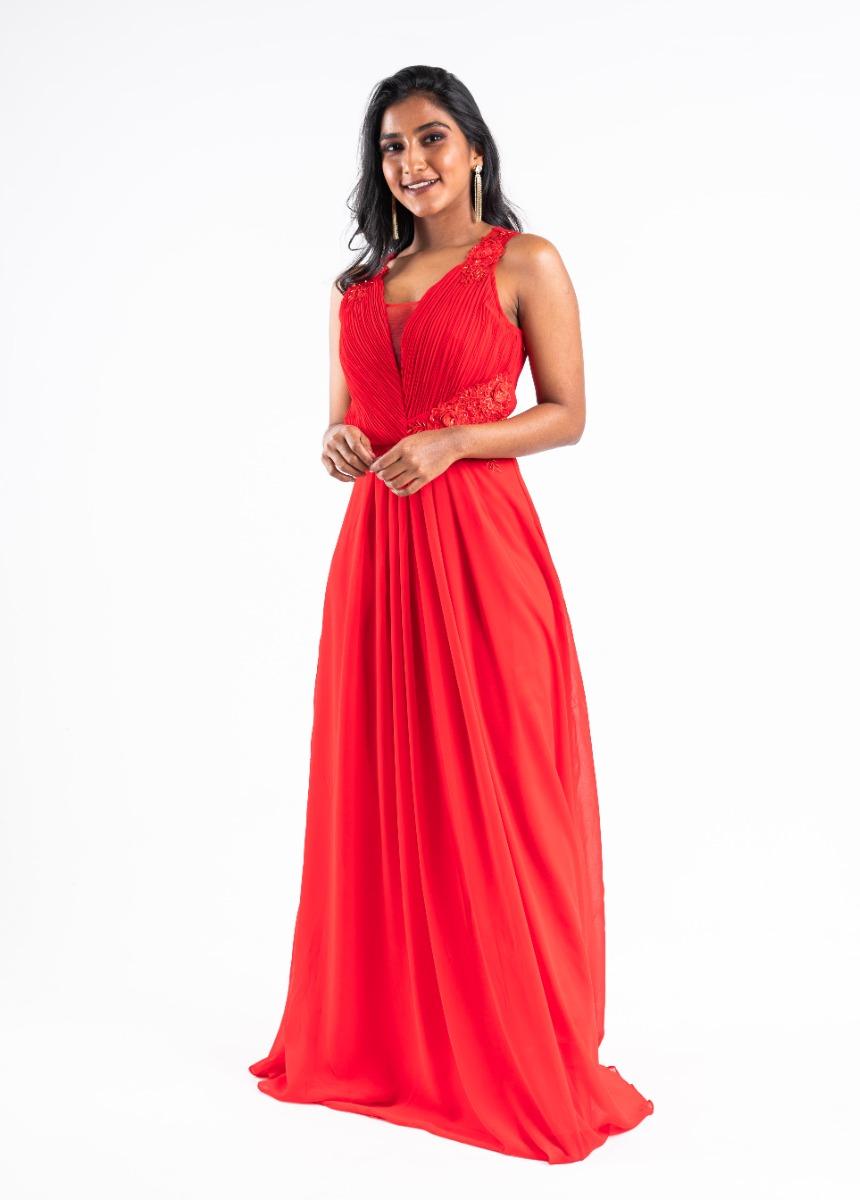 Women's Red Sequined Embroidered Party Maxi Dress