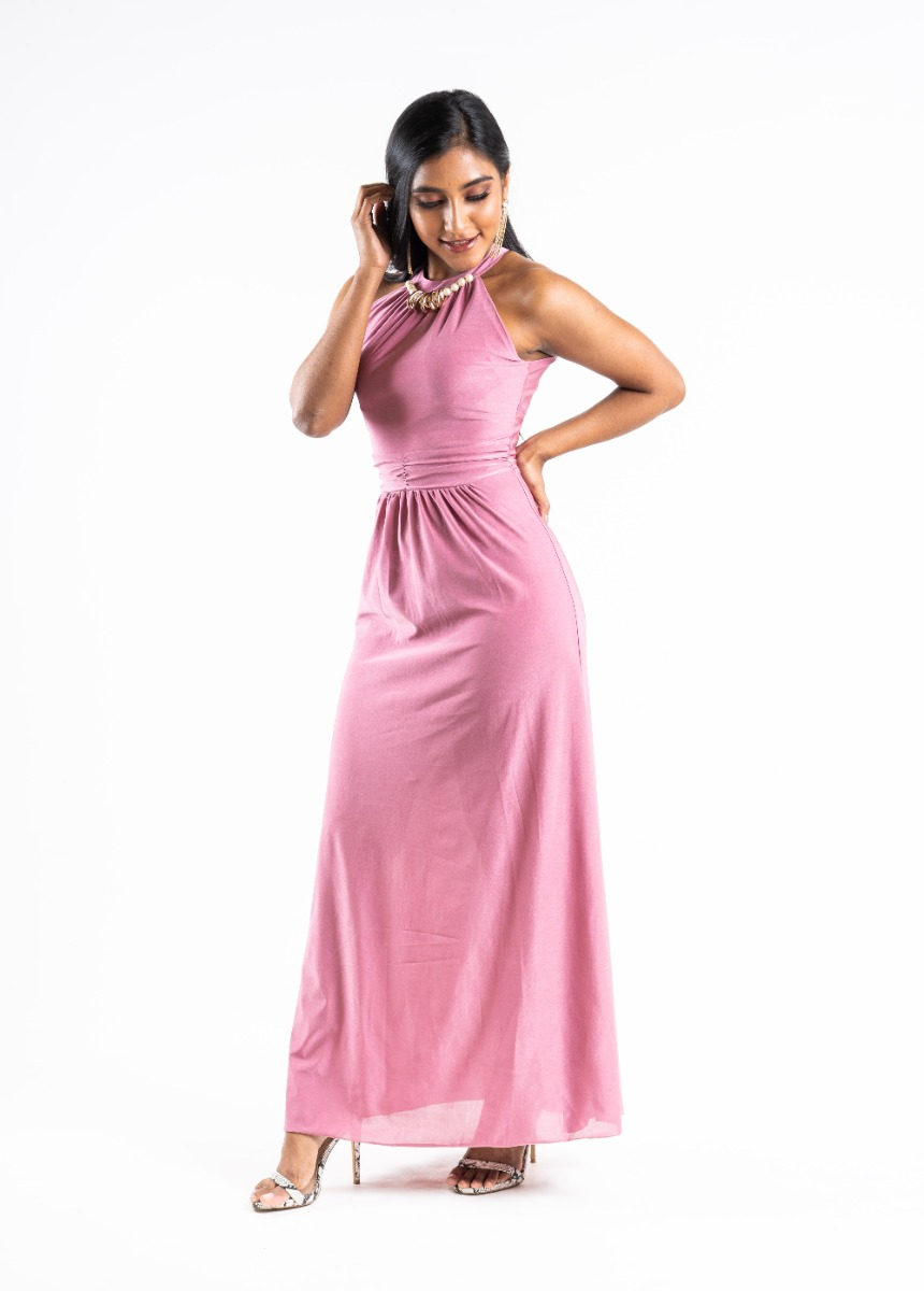 Women's Shine Punch Pink  Accordion Pleat Party Maxi Dress With Pearls Detail
