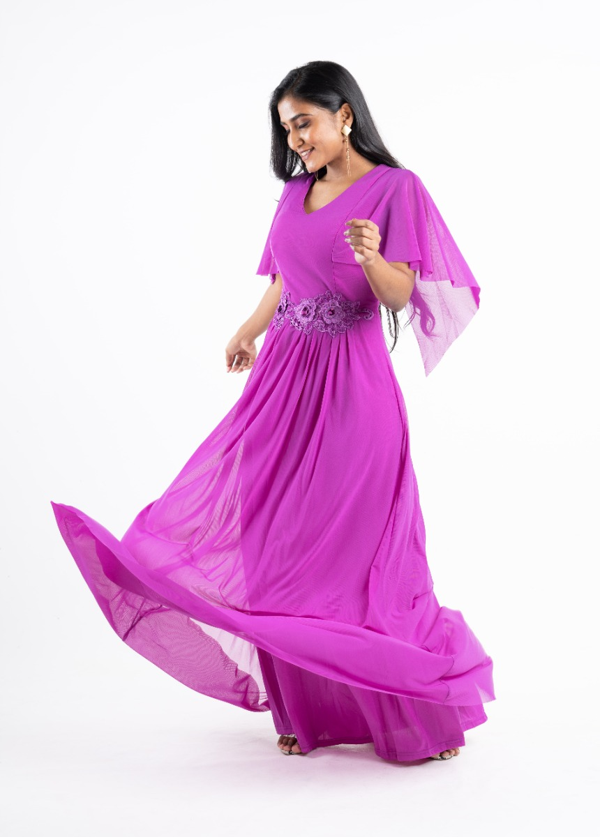 Women's Pink Sequined Embroidered Party Maxi Dress