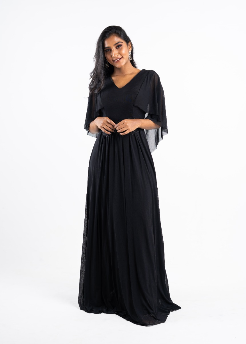 Women's Black Sequined Embroidered Party Maxi Dress