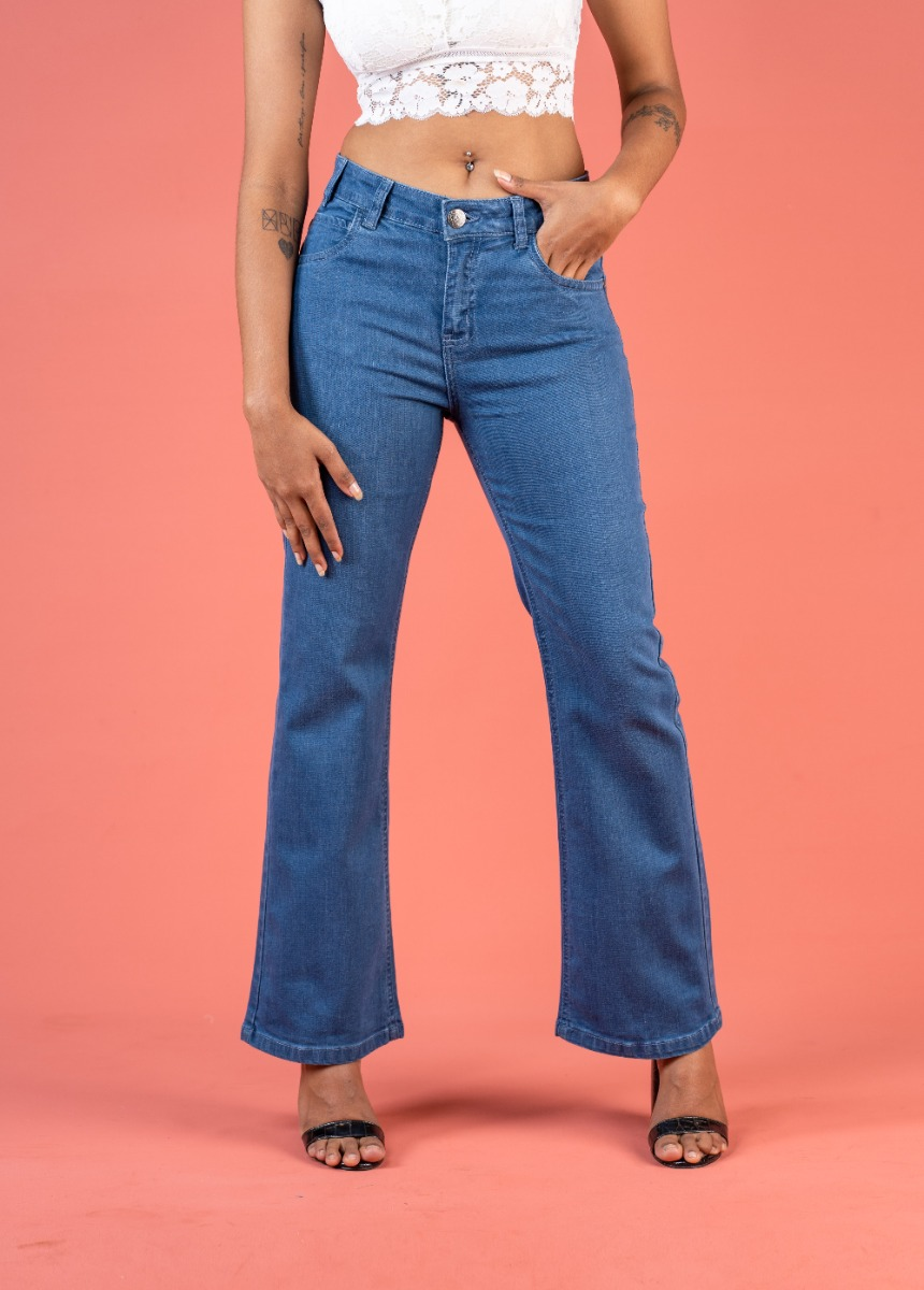 Women's Blue Bootcut High-Rise No Fade Stretchable Jeans