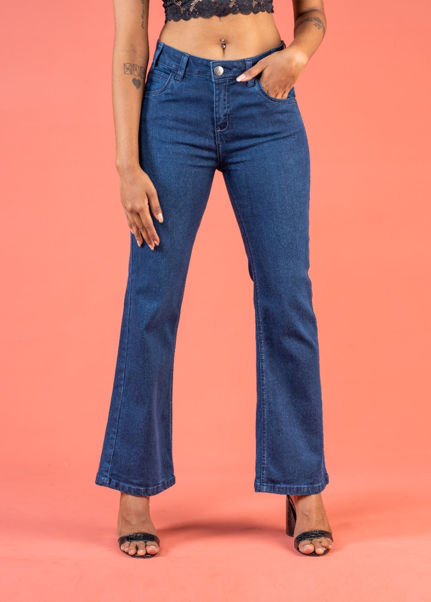 Women's Navy Blue Bootcut High-Rise No Fade Stretchable Jeans