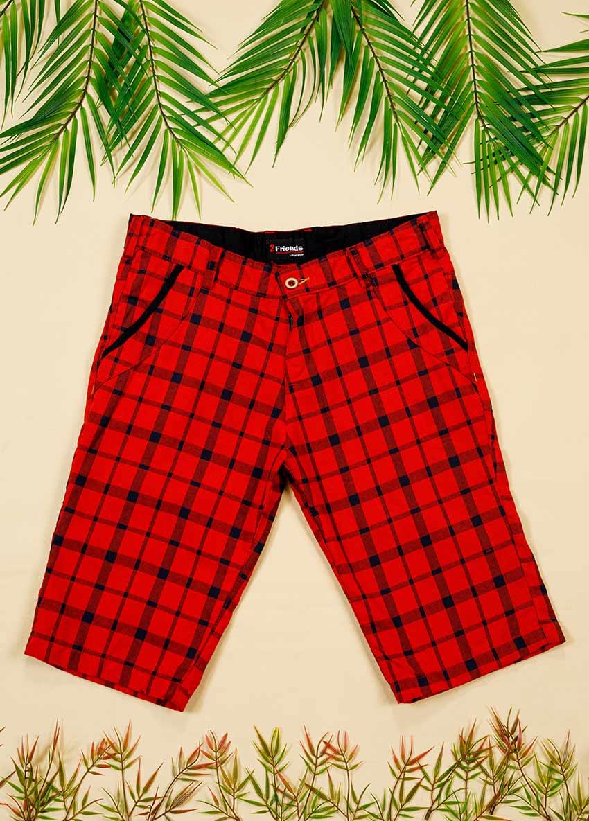 Boys Red Checked Regular Shorts