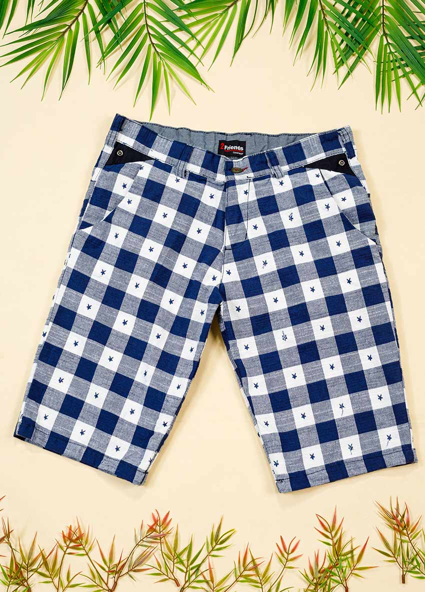 Boys Blue Checked Regular Shorts