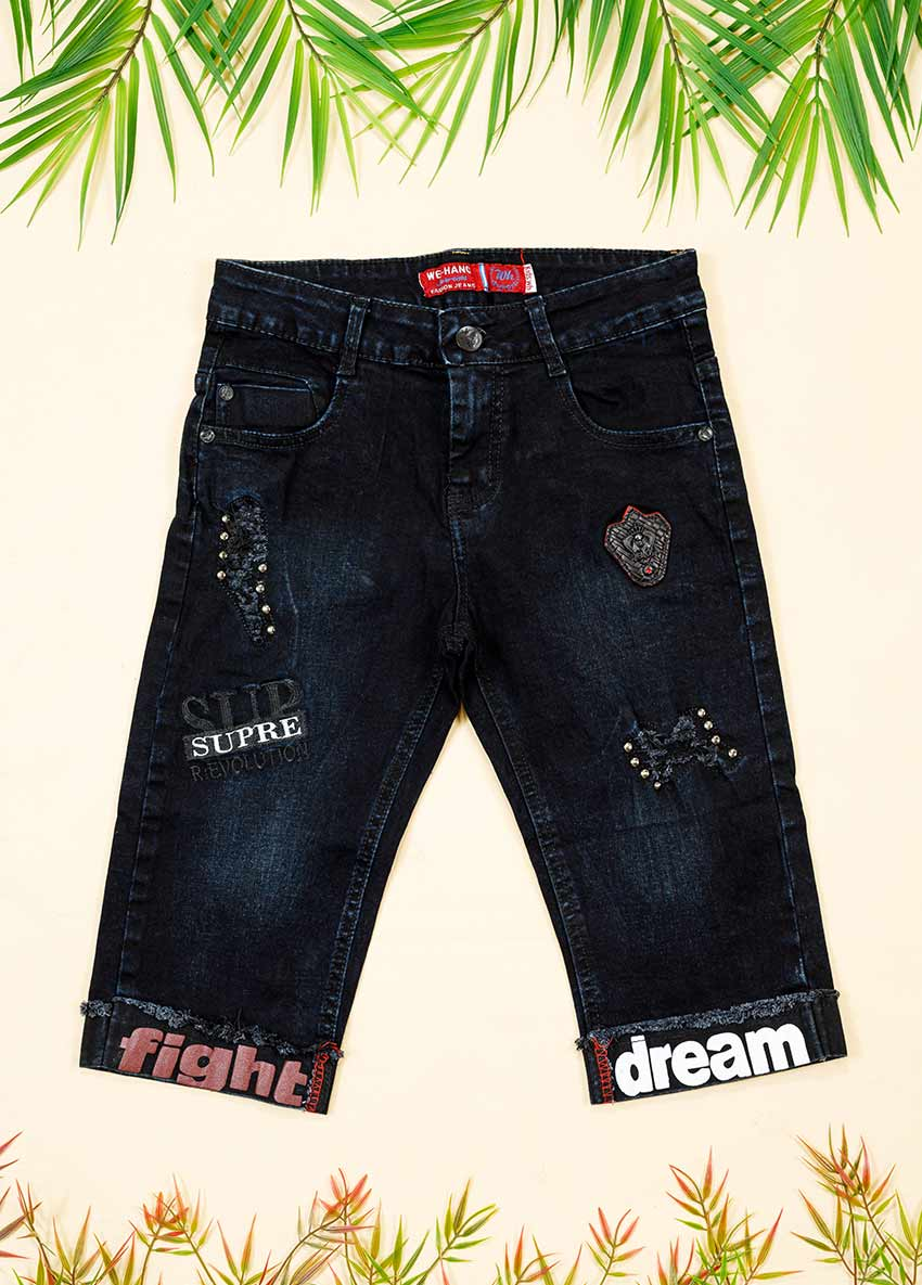 Boys Black Solid Regular Fit Denim Shorts