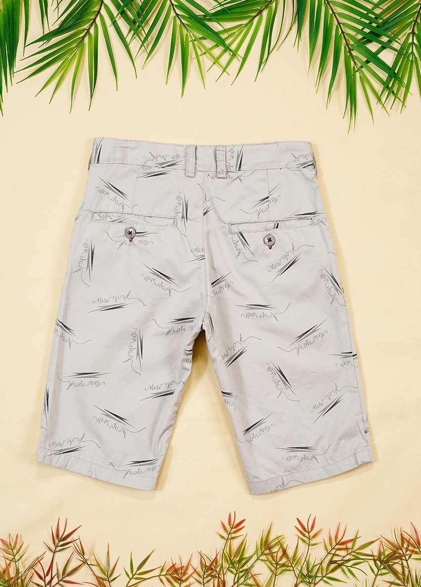 Boys Gray Printed Regular Fit Regular Shorts