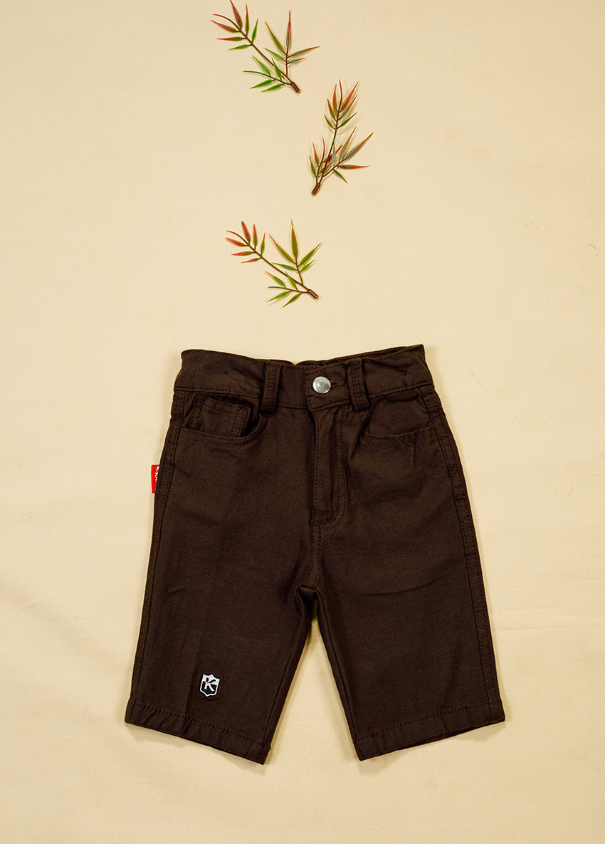 Boys Coffee Brown Solid Regular Fit Shorts