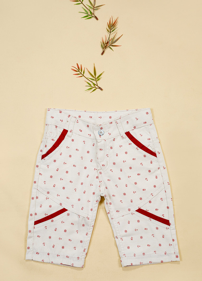 Boys White Solid Regular Fit Shorts