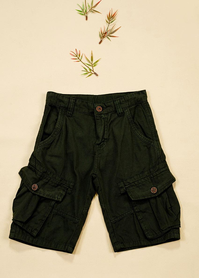 Boys Dark Green Brown Solid Regular Fit Shorts
