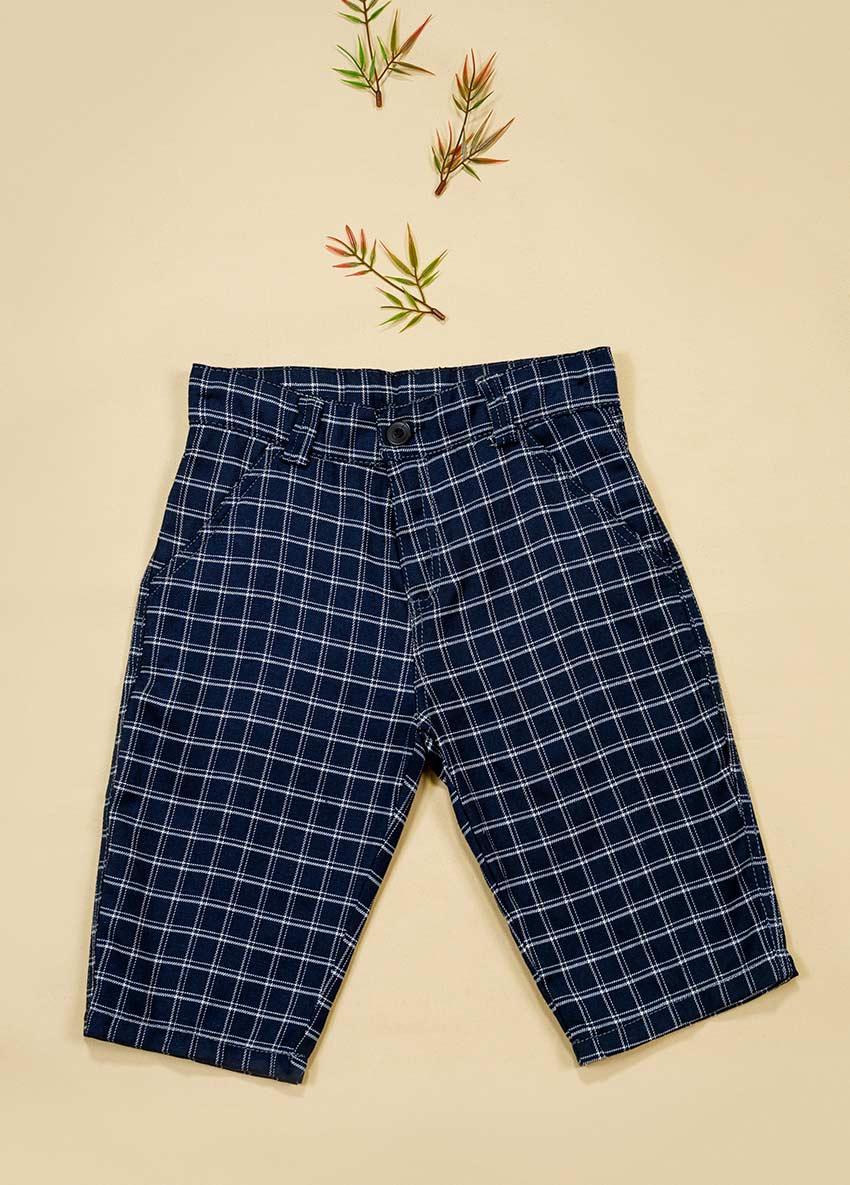 Boys Navy Blue Checked Regular Shorts