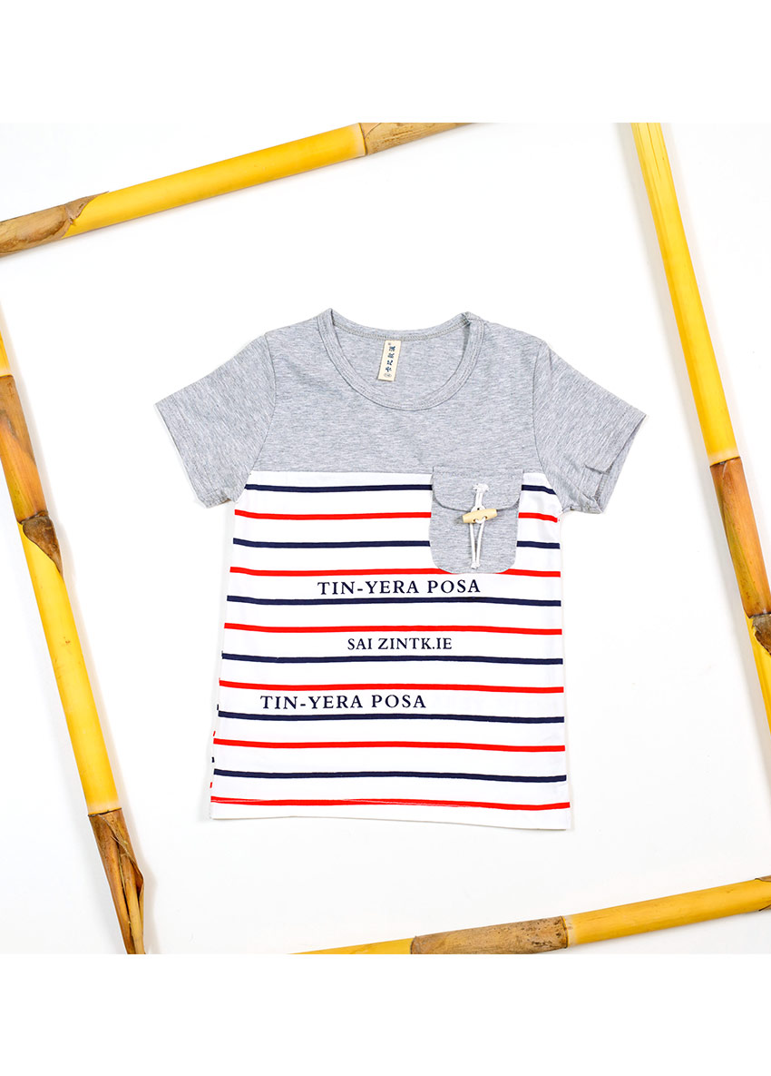 Boys Ash and white Striped  Round Neck T-shirts