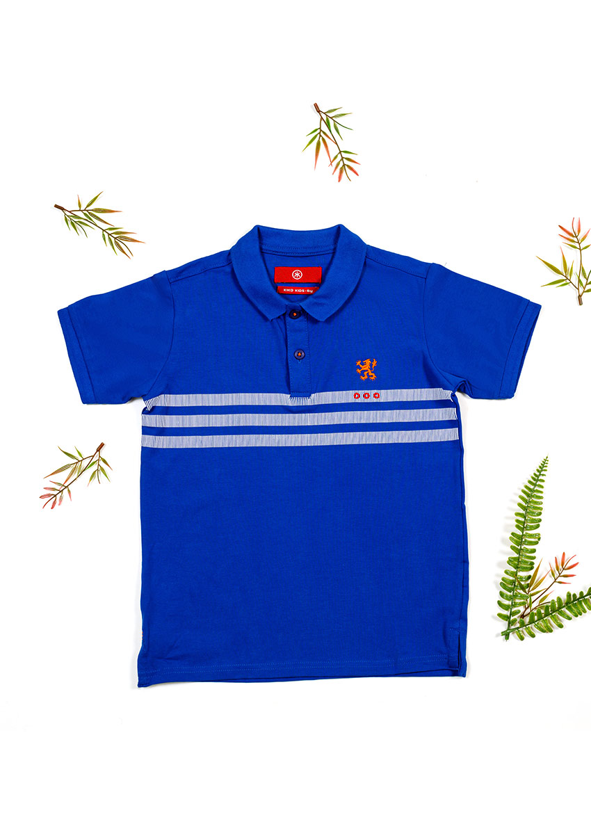 Boys Blue and white Striped  Polo Collar T-shirt