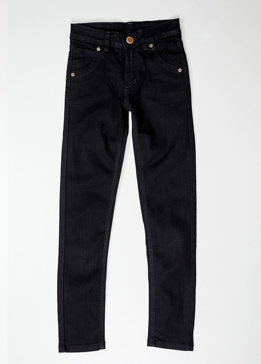 Boys Black Regular Fit Mid-Rise Clean Look Jeans