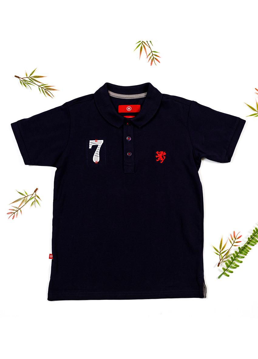 Boys Black Polo Collar T-shirt
