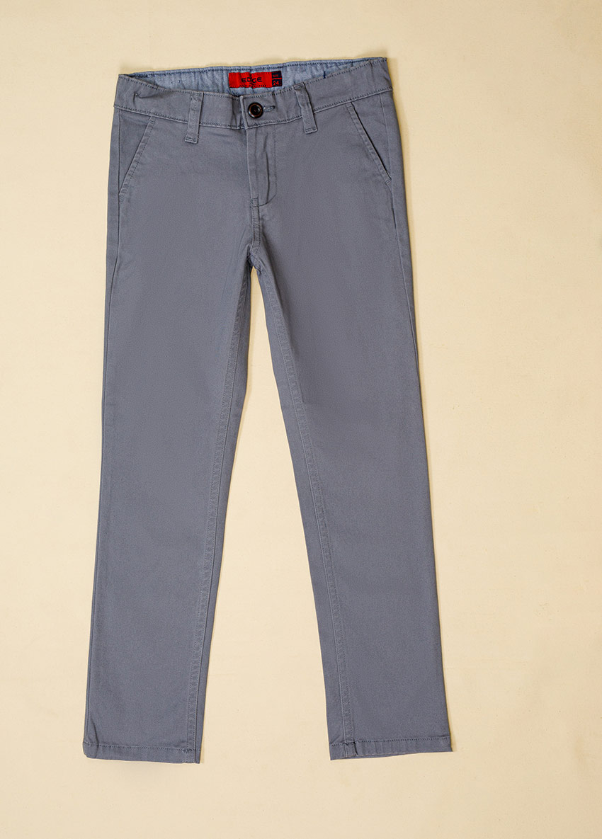 Boys Ash Solid Regular Trousers