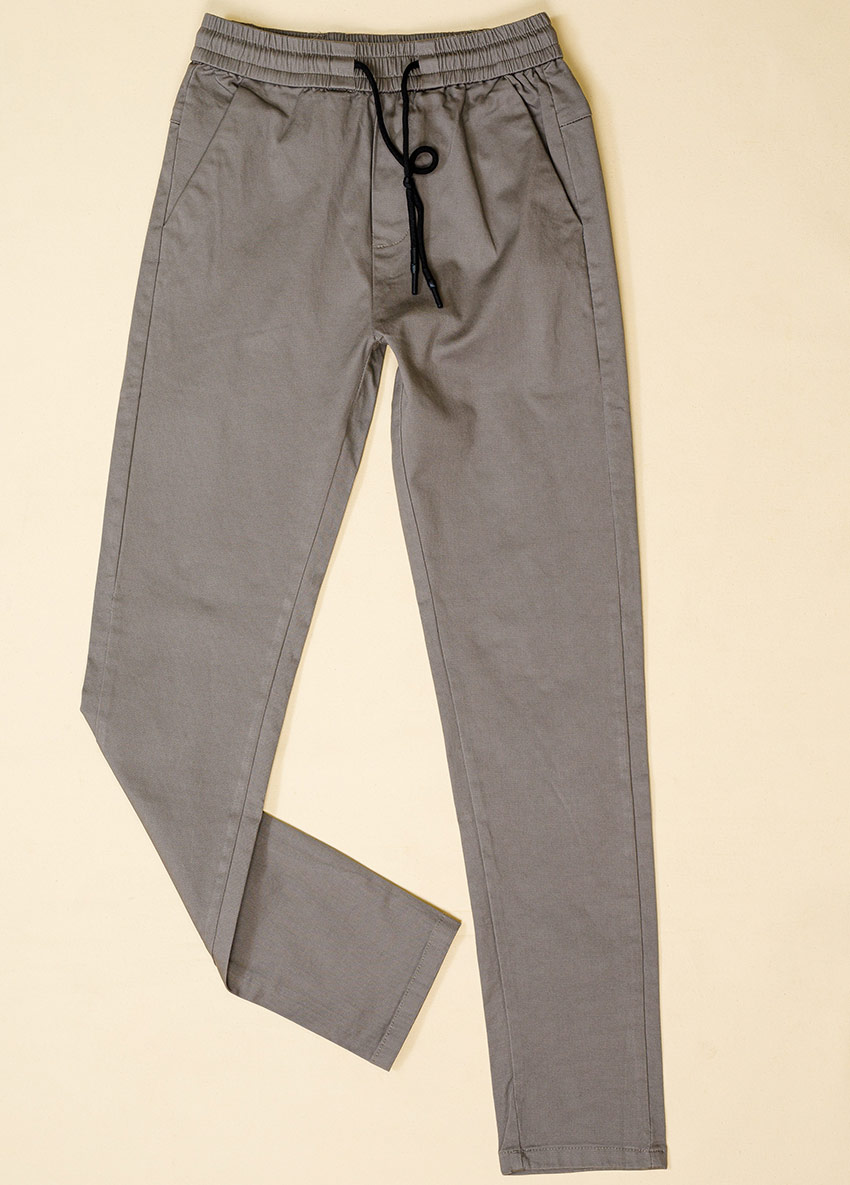 Boys Gray  Solid Regular Trousers