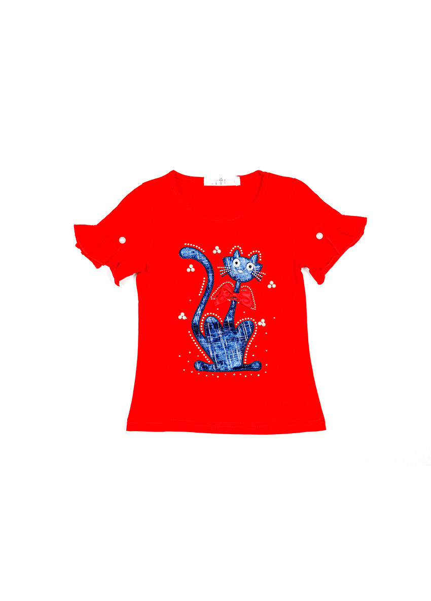 Girls  Red Printed T-shirt