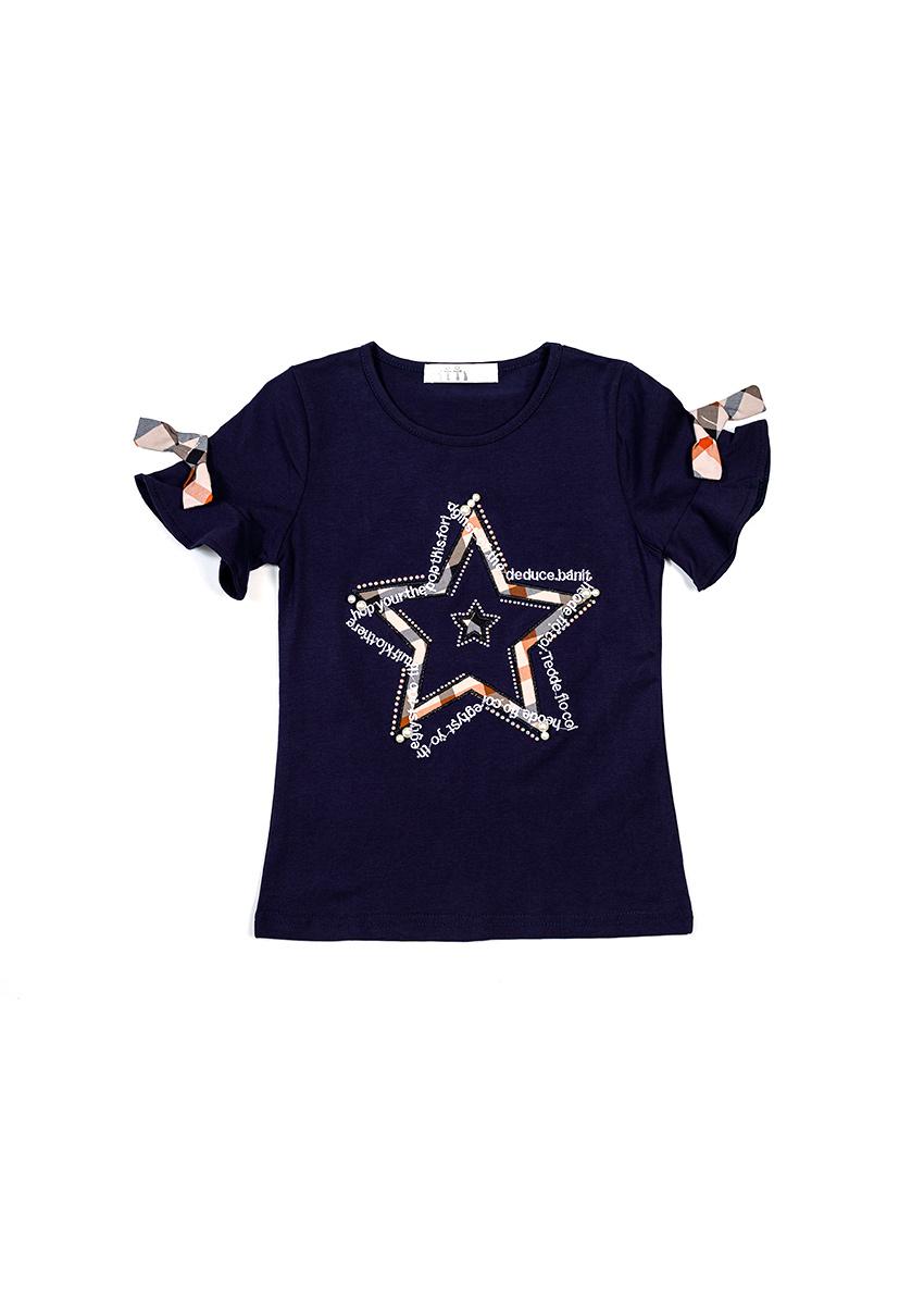 Girls Navy Blue Printed Round Neck T-shirt