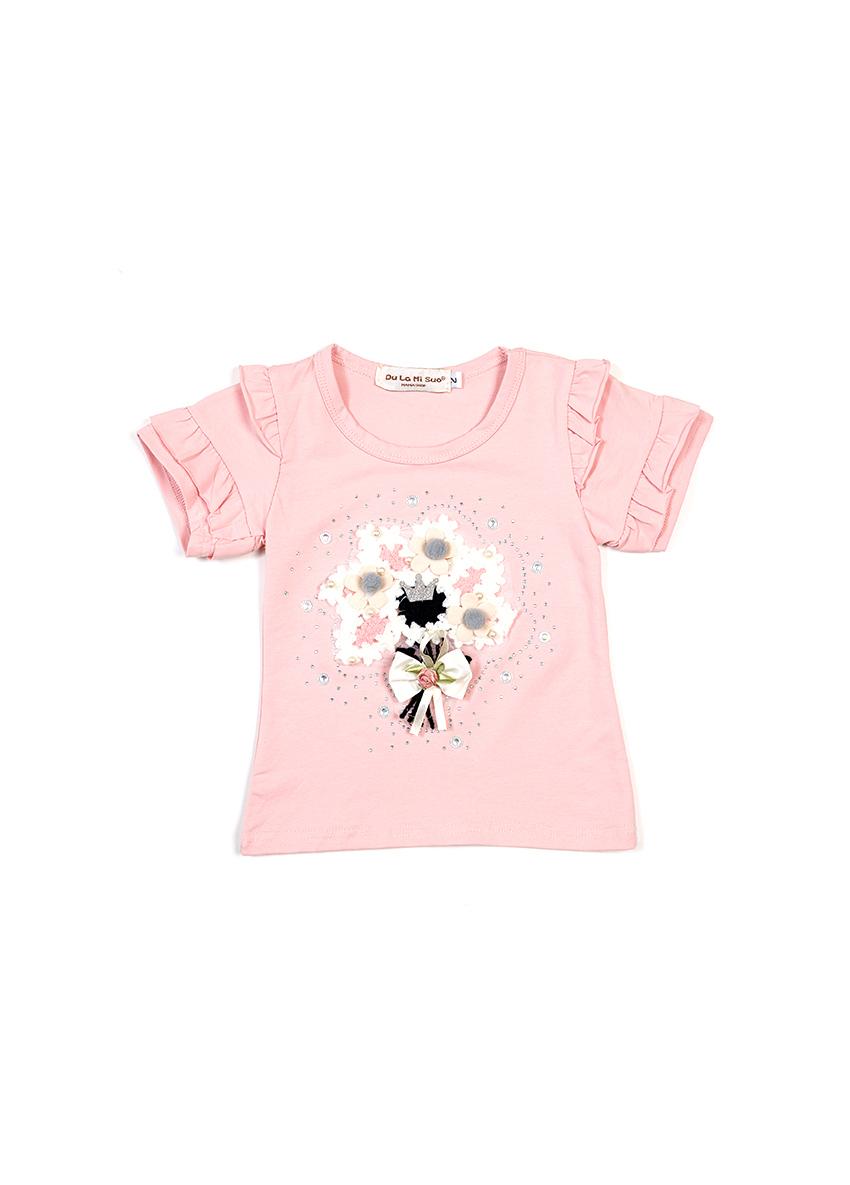 Girls Printed Pink Round Neck T-shirt