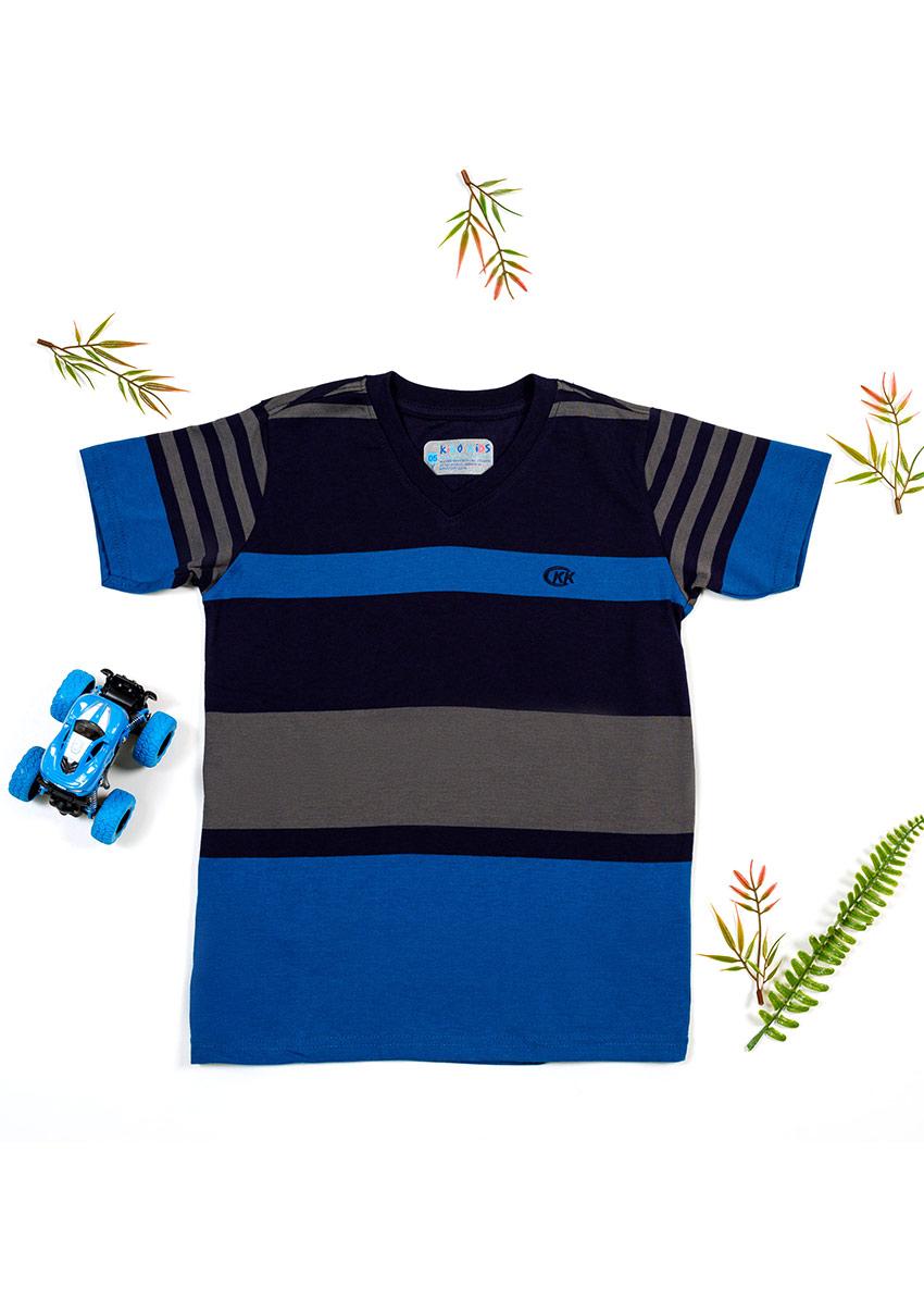 Boys Striped Polo Collar T-shirt