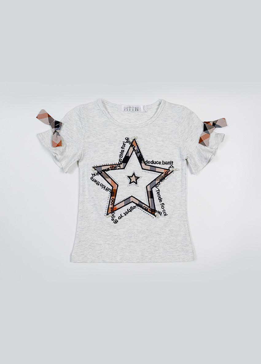 Girls  Ash Printed Round Neck T-shirt