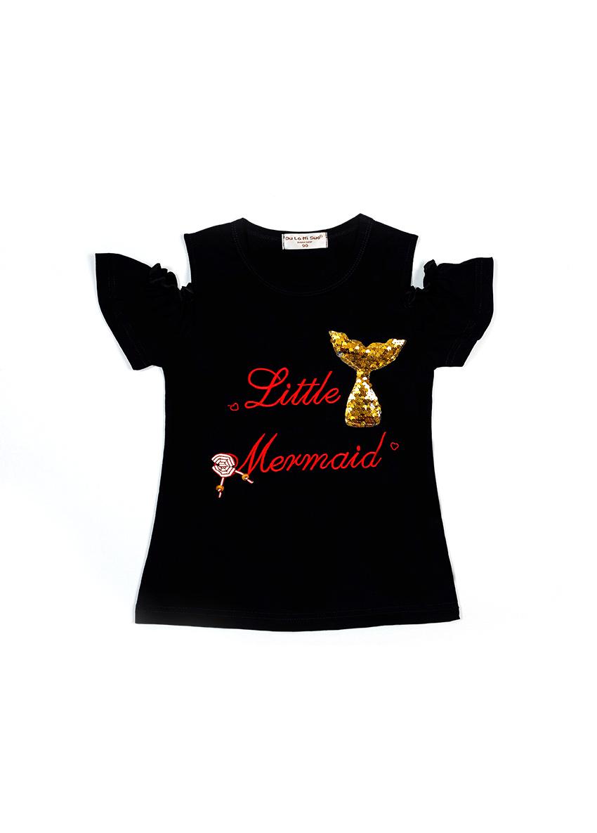 Girls Black Printed Round Neck T-shirt