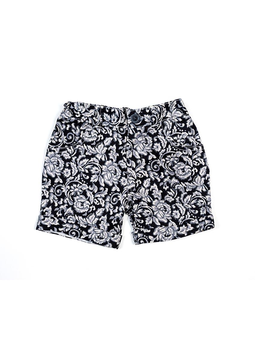 Girls Black & White Printed Regular Fit Regular Shorts