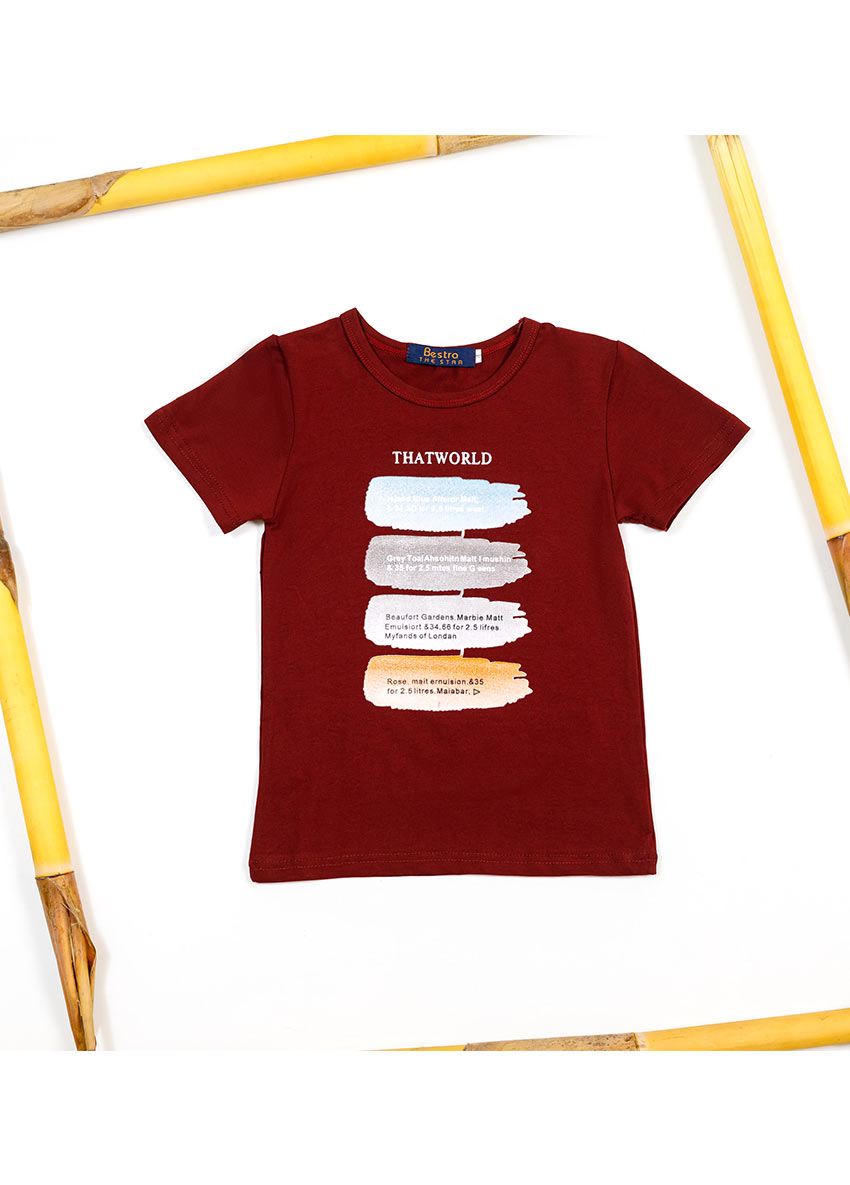 Boys Maroon Printed Round Neck T-shirt