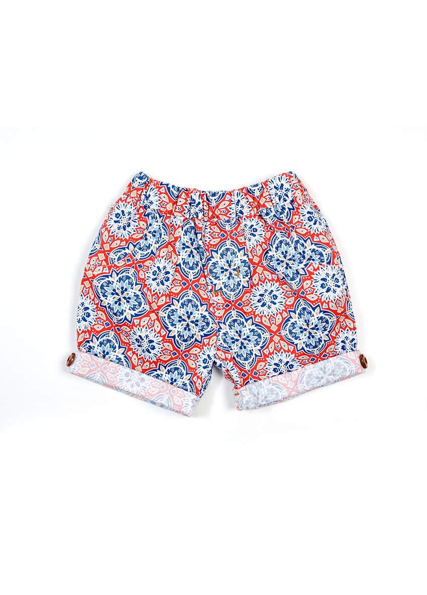 Girls Black & White Flora Printed Regular Fit Regular Shorts