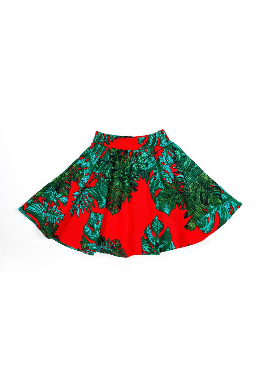 Girls Blue Flora Printed Regular Fit Regular Skirt
