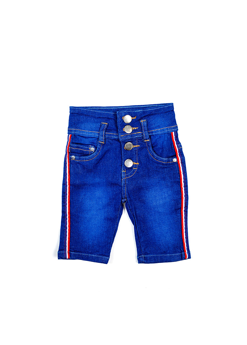 Girls Blue Regular Fit Denim Shorts